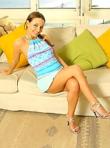 White Heels, Carla in a gorgeous blue summer outfit with stockings.