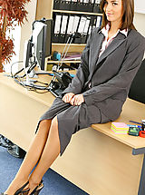 Secretary Fuck, Melanies perfect figure is flattered by the sexy lingerie under her suit skirt and blouse