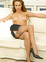 hosiery, Stacey in secretary outfit with stockings