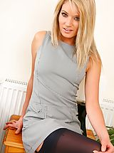 kurzerrock, The gorgeous Emma C stripping from her grey Secretary Outfit and black stockings and suspenders