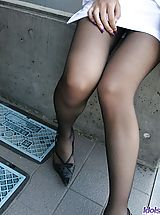 suspender tights, Slutty Asian babe Aine shows her big tits