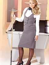 Busty Secretary, Pool hustler Sara wearing tight fitting skirt suit and black stockings