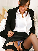 minirock, Stunning executive secretary Nadia E finishes off her work and then undresses from her sexy skirt suit