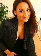 Carla looking as delightful as ever as she seductively strips of her sexy secretary outfit in the office