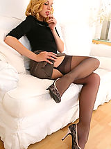 High Heel Mules, Stunning beauty secretary slips out of her outfit with gorgeous lingerie.