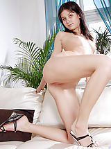 red upskirts, Tight amateur Elizabeth getting naked and showing off her sexy asshole on the sofa
