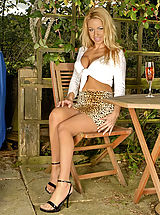 High Heel Mules, Taylor likes to relax with a glass of chianti, and get horny in her sexy girdle bra and nylons... What better way to spend an afternoon in the sun?