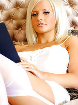 mini upskirts, Breathtaking blonde Michelle Marsh relaxes in gorgeous white lingerie.