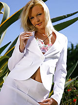 white upskirts, Sandra in stunning white suit