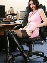 Sexy Secretaries, Naughty Secretary Carole in pink minidress