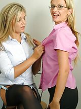 Secretary Pics: Leah & Naomi K in secretary outfits