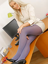 Only Tease Pics: Sexy blonde secretary Donna T slowly strips in her office to reveal her gorgeous purple pantyhose