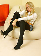 white upskirts, Lucy Anne looking as gorgeous as ever with denim mini and wool pantyhose