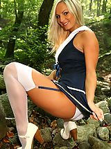 black stocking, Sailor Tammy strips out of her uniform to show off her perfect body.