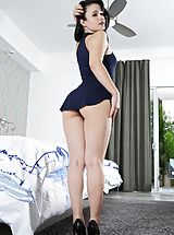 White Heels, Nude Horny Girlfriend in Shooting 1229 Yhivi Naive appearing lady feels getting a real sneaky whore, she strips down her outfits, sharing her naked breasts, lifts up her small sweater and brings down her underwear, to bring out her virgo alike shaved crac
