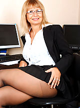Sexy Secretary, Thick blonde cougar finger fucks her pussy with high heels on
