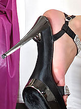 Black High Heels, Wet Pussy Closeup of Viktoria Diamond