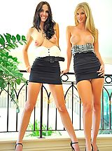 denim skirts, Kirsten and Natalie play in public