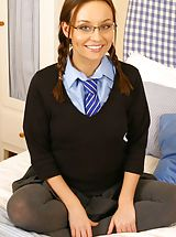 Hot Legs, Carla on the bed in cute college uniform.