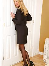 Beautiful office girl Maria S undresses in her bedroom after a long day at work