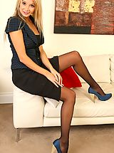 Beautiful Stevie wearing tight top and satin skirt.