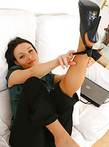 Stilletto Heels, Sexy Carla looks glorious as she teases her way out of her black secretary out Non Nude