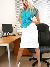 Secretaries, Breathtaking blonde teases her way out of the satin blouse and knee length skirt. Non Nude