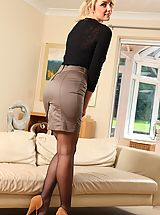 Hot Legs, Stacey treats us to flashes of her holdup  her miniskirt