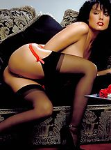 Stockings Pics: Now as a brunette, Jeanna never looked more