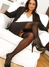 High.Heels Pics: Gorgeous brunette Isla looks stunning in her sexy brown secretary outfit Non Nude