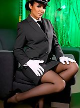 High Heels Legs, Rachael B gives a real treat as she slips out of the driver uniform.
