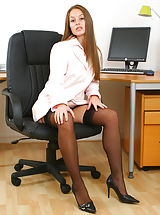 Gorgeous secretary Sadie peels of her mini skirt and matching shirt to reveal the beauty beneath. Non Nude