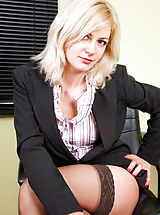 suspender belt, Sexy executive cougar Laurita offers upskirt views and reveals her curvy body during break time