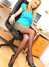6 inch Heels, Naughty blonde secretary Hayley-Marie does a sexy strip.