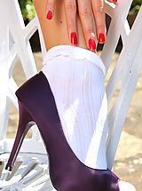High Heels Legs, Natalia looks fantastic as she slips out of her summer dress in the sunshine.