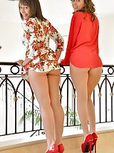 Classic Pumps, Naked Woman Athena and Mindy Cousins In Red