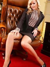 minirock, Blonde slips out of her tight black knee-length skirt suit and reveals her sexy lingerie.