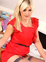silk stockings, Amy in red secretary dress and stockings