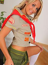 Sexy Secretaries, Cheeky blonde cookie girl looks amazing as she strips out of her uniform and flaunts her hot body in just knee high socks.