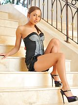 High Heels Legs, Mallorie plays on the stairs
