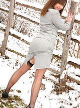 Secretary Pics: Emma H looking stunning in the snow in her sexy secretary outfit.