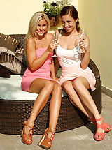 Sexy Heels, Lesbian Babes Play with Wine Bottle and Double Dildo Outside