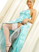 Stilletto Heels, Mel looking gorgeous in a stunning evening dress and stockings.