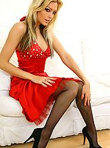 High Heels Legs, Beauty Natasha looks stunning wearing red evening dress