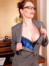 Sexy Legs, Holly Kiss, Gorgeous Anilos office temp strips down to her naughty lingerie on lunch break
