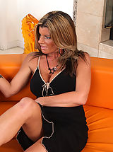 Open Legs, Hot blonde cougar Kristal Summers loves to suck and ride younger cock.