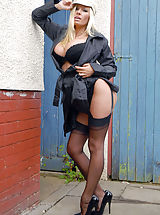 Secretary Pics: Michelle is not your usual flasher type, but more the shame! In her back garden she does a strip down to her kinky latex garter belt and black Harmony Point full fashion nylons, poised on classic 6