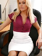 Classy Legs, Blonde looks stunning in her office wearing a tight blouse and a tight long white skirt. Non Nude