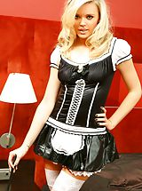 Sexy blonde in french maid outfit.