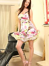 Office Sex, Brunette Carole wearing a beautiful and colourful summer dress.